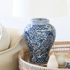 Tessa Blossom Blue & White Table Lamp | Black Mango