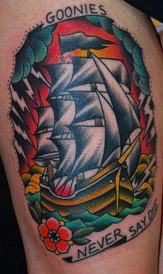 Nautical pirate ship part of the leg sleeve. Nautical pirate ship part of the leg sleeve. Movie Tattoos, Cartoon Tattoos, Pin Up Tattoos, Tattoo You, New Tattoos, Tummy Tattoo, Tattoo Time, Foot Tattoos, Tatoos