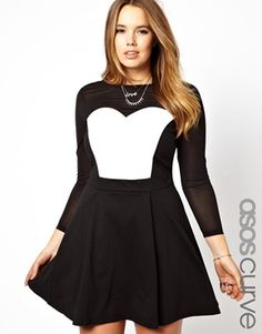 ASOS CURVE Exclusive Skater Dress With Mesh & Leather Look