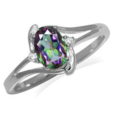 Mystic Fire Topaz 925 Sterling Silver Classic Ring Silvershake 1.34ct