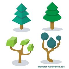 Green trees vector illustration.