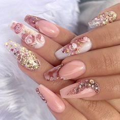 "Rose Nails via - NAIL INSPO (@theglitternail) on Instagram: ""✨ Nude nails with 3d-flowers and glitter • #Repost : Picture and Nail Design by…"""