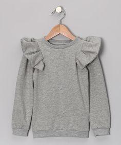 Gray Ruffle Sweatshirt from #TheBrand on #zulily