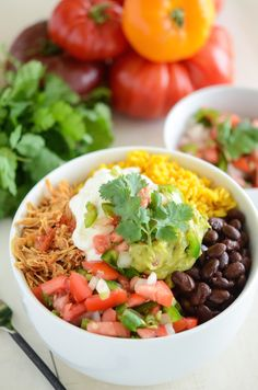 Salsa Chicken Bowl! Great weeknight dinner made in the slow cooker!