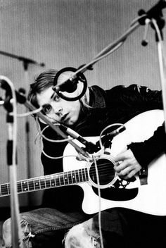 Nirvana's Kurt Cobain in the recording studio.