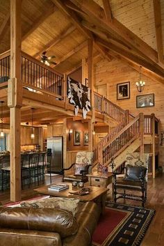 Pin by lisa rowton on dream home house, log homes, log cabin homes. Log Cabin Living, Log Cabin Homes, Log Cabin Kitchens, Log House Kitchen, Stairs Kitchen, Loft Stairs, House Stairs, Loft Railing, Open Stairs