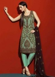 Party Wear Green Georgette Heavy Embroidery Work Salwar Suit