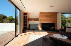 Contemporary Home Builders Melbourne, Residential Architecture Construction Melbourne Wood Fireplace, Fireplace Design, Fireplaces, Spacious Living Room, Living Spaces, Interior Architecture, Interior Design, Home Builders, Building A House