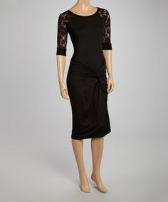 Look what I found on #zulily! Black Lace Gathered Shift Dress by American Buddha by Yogi #zulilyfinds
