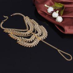 Punk Golden Link #ChainsAnklet Tassel #FootBracelet for Golden Chain Link Tassel Anklets for Women and Girls.