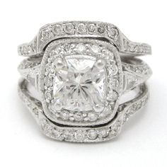 Vintage Style Cushion Cut Engagement Rings