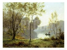 Late Summer Afternoon on the Lake Art on Acrylic by Albert Gabriel Rigolot at Art.com