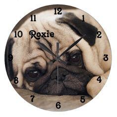 Pug Dog Wall Clock - decor diy cyo customize home