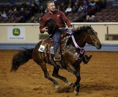 Corey Cushing, of Scottsdale, Ariz., rides Rising Starlight Saturday during the American Quarter Horse Association�s 2012 World Show in Oklahoma City.  Photo by Garett Fisbeck, The Oklahoman
