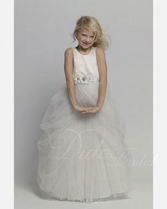 Ball Gown Bateau Neckline Satin Tulle Floor-length Junior Bridesmaid Dress. $80.08