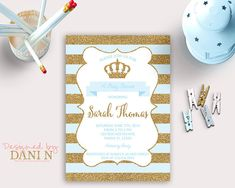 Baby shower invitation prince gold and navy baby shower little baby shower invitation prince baby shower blue and gold crown invitation printable little filmwisefo