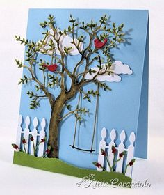 KC Memory Box Grand Oak Tree  When I saw the new Memory Box release at Ellen Hutson I knew my debit card was going to be in trouble.  LOL!  I loved the Grand Oak Tree and Set of Swings and couldn't wait to get them in my hands. -