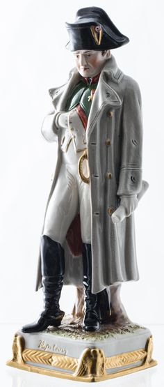 """Antique German Scheibe Alsbach Kister Napoleon Bonaparte Porcelain Figurine - 9.5"""" While I was taking photos i broke the neck and glued it back , it does not show but I must mention. $290.00"""