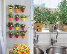 Need to make a spice area like that Herb Garden, Indoor Garden, Indoor Outdoor, Home And Garden, Plantar, Small Gardens, Houseplants, Planting Flowers, Planter Pots