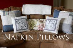 Napkin Pillows by ohsohappytogether, via Flickr