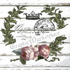 French Laurel Wreath Shabby Transfer Instant by GraphicMarketplace