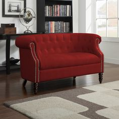 Handy Living Chesterfield Red Velvet Loveseat By Handy Living Ideas
