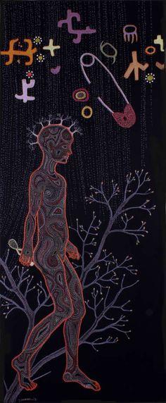 Title: My mtDNA Medium: Embroidery and beadwork on fabricSize: 80 x 214cmArtist: Tamar Mason