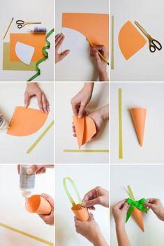 Step by step Easter carrot paper keepsake. # Easter crafts for kids Easy Paper Crafts, Easter Crafts For Kids, Diy For Kids, Diy And Crafts, Easter Ideas, Valentines Bricolage, Valentines Diy, Easter Flower Arrangements, Diy Ostern