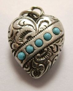 Silver and turquoise- lovely! I Love Heart, Key To My Heart, Happy Heart, Heart Charm, Vintage Charm Bracelet, Charm Bracelets, Hearts And Roses, Victorian Jewelry, Sacred Heart