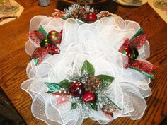 White Christmas Deco Mesh Centerpiece