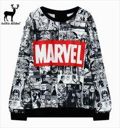 Harajuku Japan Korean fashion Marvel Sweatshirt Comic collage Avengers Xmen Professor x Spiderman All over print