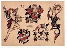 Sailor Jerry, Flash Sheet, T Shirt Design. Vulture Graffix Online Mail order T… Sailor Jerry Tattoo Flash, Sailor Tattoos, Navy Tattoos, Rose Tattoos, Symbol Tattoos, Arabic Tattoos, Dragon Tattoo Back Piece, Tatoo Henna, Tatoo Designs