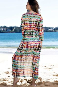Printed V Neck Long Sleeve Maxi Dress RED AND GREEN: Maxi Dresses | ZAFUL