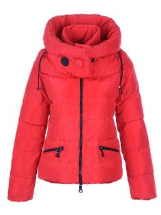 France Moncler Mengs Classic Women Down Jackets Round Neck Red Outlet