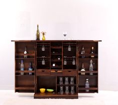 Old Wine + Friends = Amazing Party! Bring Home Small Bar Cabinet and give your precious collection of wine it's own little space. Small Bar Cabinet, Liquor Cabinet, Wooden Street, Small Bars, Bar Furniture, Wine Rack, Cheers, Space, Storage