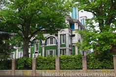 """Interior and exterior tiles are breathtaking! Debenham House in Holland Park at No. Arts and Crafts style house - an example of """"Structural Polychromy"""" Exterior Tiles, Interior And Exterior, Conservation, Holland Park, Addison Road, Places Ive Been, Beautiful Homes, The Neighbourhood, London"""