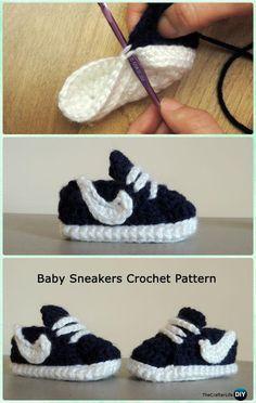 Häkelarbeit Nike Style Baby Sneaker Booties Free Pattern - Häkeln Baby Booties Hausschuhe Free Pattern