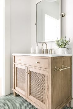 The sweetest powder bathroom featuring a pop of green from the sage colored penny tile floor! Love adding fun details like this to smaller… Penny Tile Floors, Bathroom Floor Tiles, Tile Flooring, Bad Inspiration, Bathroom Inspiration, The Tile Shop, Bathroom Interior Design, Bathroom Vanity Designs, Bathroom Ideas