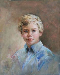 Head & shoulders oil portrait of a boy by a Portraits, Inc., artist