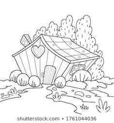 Cartoon House, Color 2, Adult Children, 2 Colours, Coloring Pages, Coloring Books, Abstract, Illustrations, Pictures