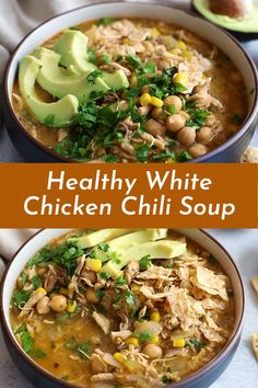 Healthy White Chicken Chili Soup that's exceptional and creamy, yet there's no cream! Made with green chile, bird, corn and blended chickpeas to make it thick and creamy. Best Soup Recipes, Healthy Soup Recipes, Easy Vegan Soup, Chili Soup, White Chicken Chili, Chickpeas, Chana Masala, Chile, Bird