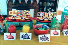 superhero party ideas | And then the real fun started with the cake and candy table! I used ...