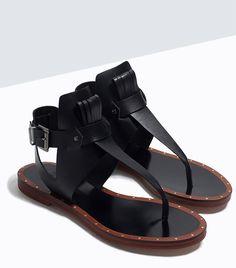 Zara Fringed Leather Flat Sandals in Black