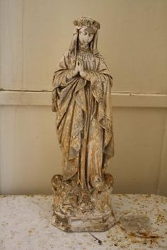 antique virgin mary statue