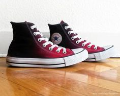 Red ombre Converse, dip dye upcycled vintage sneakers, All Stars, high tops, eu… Mode Converse, Baby Converse, Outfits With Converse, Converse All Star, Red And Black Converse, Women's Shoes, Me Too Shoes, Shoe Boots, Shoes Sneakers