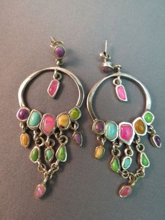 Barse Earrings 925 Sterling Silver Pierced Dangle Colored Stones 15.13g Hoops #Barse #DropDangle SOLD!