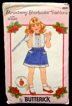 Strawberry Shortcake BLOUSE & SKIRT Sewing Pattern - Girls Children's Top BOW Tie - Vintage #patterns4you