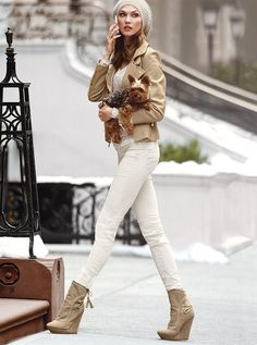 Winter White pants with khaki colored jacket, hat, & boots.