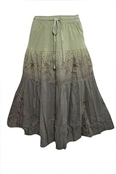 Women's Skirt Green Double Tone Embroidered Rayon Bohemian Skirts Mogul Interior http://www.amazon.com/dp/B019U763IQ/ref=cm_sw_r_pi_dp_aiWFwb163F0EK