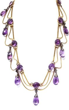 An Antique Yellow Gold, Silver, Amethyst, Pearl and Diamond Swag Necklace